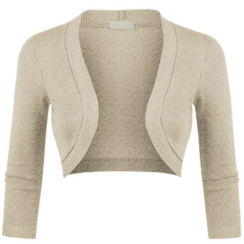 LE3NO Womens Fitted 3/4 Sleeve Open Front Cropped Bolero Cardigan (CLEARANCE)