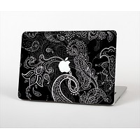 The Black with Thin White Paisley Pattern Skin Set for the Apple MacBook Air 11""