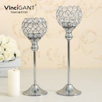 Crystal Candlestick Metal Silver Plated Candle Holder