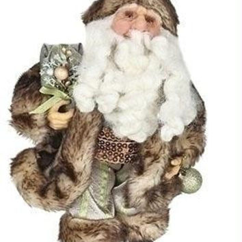 Woodland Santa Claus - World Inspired Father Christmas Figure Features A Cheetah Print Fur-trimmed Outfit And Hat