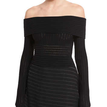 Diane von Furstenberg Long-Sleeve Off-the-Shoulder Knit Top | Neiman Marcus