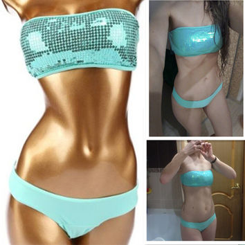 Bathing Suit Swimwear Bikini Set Top & Bottom  Beach Swim push up vintage sequined bathing suit women maillot de bain femme