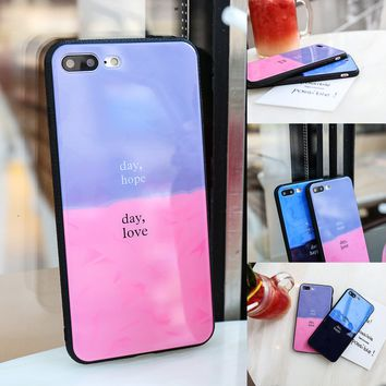 Soft Frame Shell Tempered Glass Assorted Colors Phone Shell Anti-drop Case for IPhone 6/6S IPhone 6/6Splus IPhone 7/8 IPhone 7/8plus IPhone X