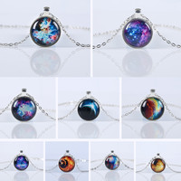 2016 New Fashion Galaxy Necklaces Nebula Space Glass Cabochon Pendants Brand Jewelry for Women Men Best Friend Ship Gift