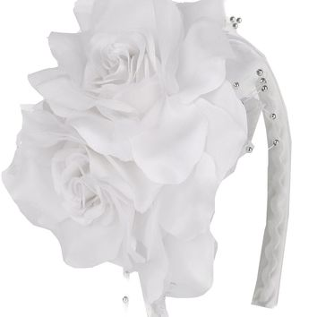 Girls White Organza & Satin Double Flower Headband