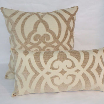 "Ivory Tan Chenille Lattice Throw Pillow 18"" Square Heavy Soft Cotton Blend Medallion Trellis Insert Included Ready Ship"