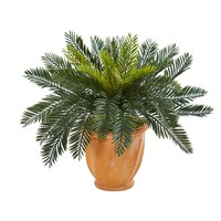 Silk Flowers -Cycas In Terracotta Planter Artificial Plant