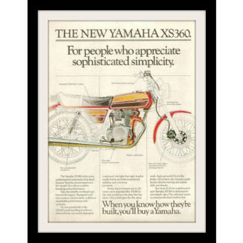 "1976 Yamaha XS360 Motorcycle Ad ""Cafe Racer"" Vintage Advertisement Print"