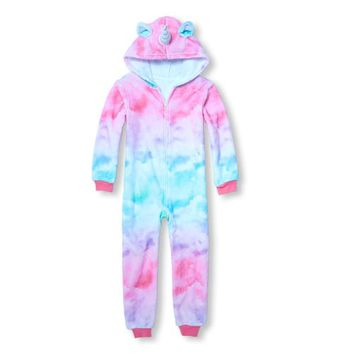 Girls Matching Family Long Sleeve Hooded Unicorn Fleece One-Piece Sleeper