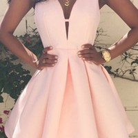 Bound To You Pink Sleeveless V Neck Pleated Skater Circle A Line Flare Mini Dress