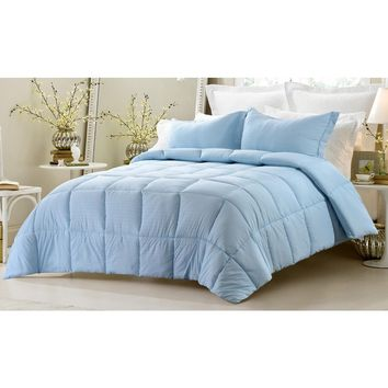 3PC REVERSIBLE SOLID/ EMBOSS STRIPED COMFORTER SET- OVERSIZED AND OVERFILLED ( 2 BEDDING LOOKS IN 1) - BLUE