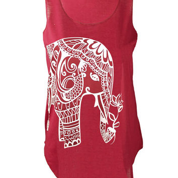 Henna Elephant Hamsa print top vest womens ladies tshirt