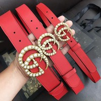 GUCCI New fashion pearl buckle leather couple belt Red