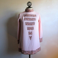 Vintage 60s Beaded Mini Dress Light Pink Glass Rhinestone Gogo Mod 1960s Evening Dance Dress Medium