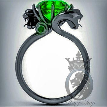 Harry Potter Slytherin 4.25 Black Gold or Black Silver Emerald Solitaire Engagement Ring