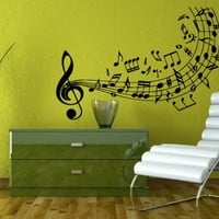 Wall Decals Vinyl Decal Sticker Musical Notes Flying Over the Stave Art Design Room Nice Picture Decor Hall Wall Chu243