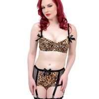 Brown & Black Animal Print & Satin Bow Two Piece Lingerie Set
