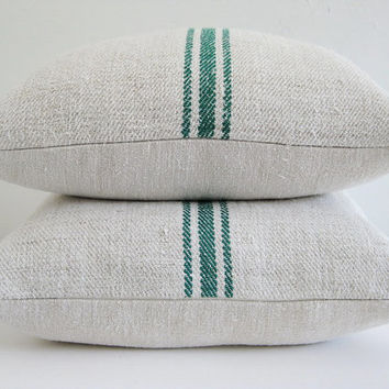 European Grain Sack Green Stripes Pillow Cover 18 x 18 French Home Decor