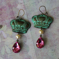 Duchess ~ Verdigris Patina Vintage Brass Crown Earrings - Czech Glass Pearls - Vintage Pink Lucite Stone - Maddie Jean Vintage