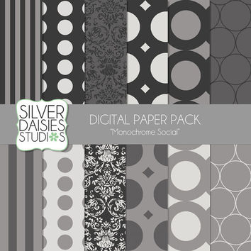 "INSTANT DOWNLOAD - Monochrome Digital Paper 12 Pack- 12""x12"" Monochrome Social Themed Set - Digital Scrapbooking - black and white paper"