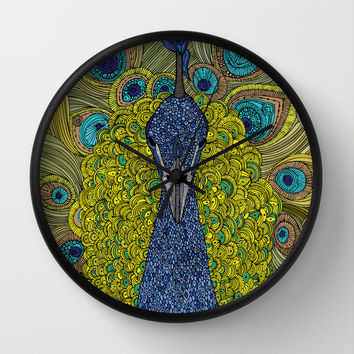 Mr. Pavo Real Wall Clock by Valentina Harper