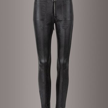 Punk Rave Black Faux Leather Biker Pants with Zipper