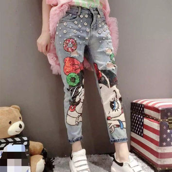 Loose Vintage Denim Harem Pants Sequined Jeans Women's Cartoon Girl Painted Hole And Beading Street Jeans free shipping D001