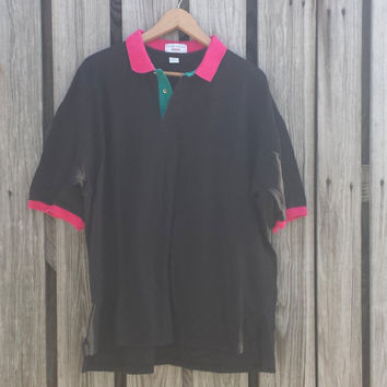 Vintage 80s Black and Pink Green short sleeve Mens polo shirt - USA Made - XL