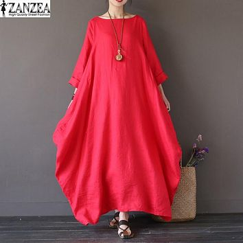ZANZEA Womens Crewneck 3/4 Sleeve Baggy Maxi Long Casual Party Shirt Dress Kaftan Solid Robe Vestido Plus Size