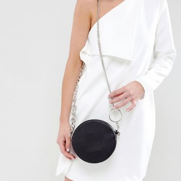 ASOS Round Cross Body Bag With Ring Detail Chain at asos.com