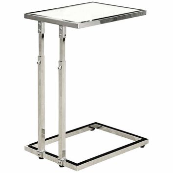 """Kass 15 3/4"""" Wide Chrome Adjustable Height Accent Table - #40E03 