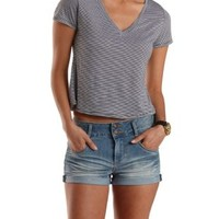 Ivory Combo Striped V-Neck Swing Tee by Charlotte Russe