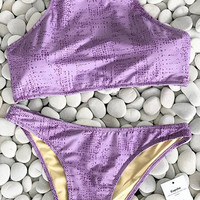 Cupshe My Cute Violet Bikini Set