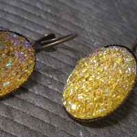 Druzy earrings-  ab yellow drusy bronze tone dangle druzy earrings