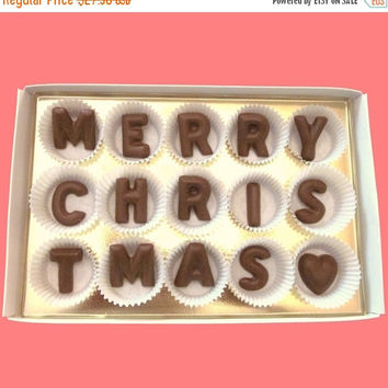 Holiday Xmas Gift for Man Woman Mom Dad Friend Boss Client BFF Long Distance Merry Christmas Large Milk Chocolate Letters Unique Greeting