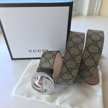 DCCK New Authentic Gucci Supreme GG Buckle Belt Size 100cm 34-36 Waist