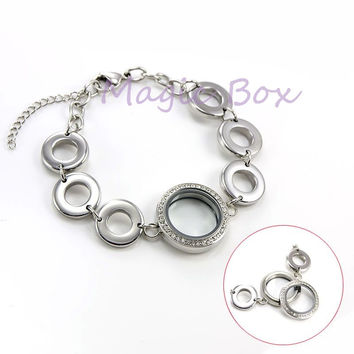 Waterpoof 316L Stainless Steel 25mm plan and rhinestone floating charm Living memory lockets bracelet  women