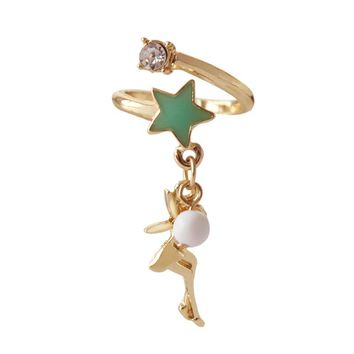 Children Kids Tooth Fairy Gold Color Rings Green Stars White Beads Alice in Wonderland Adjustable Finger Rings For Women Girls