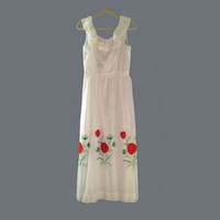Dotted Swiss Maxi Dress 1970 White with Red Poppies