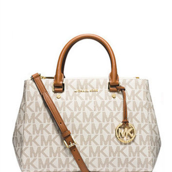 Michael Michael Kors Medium Sutton Signature Zip Top Satchel