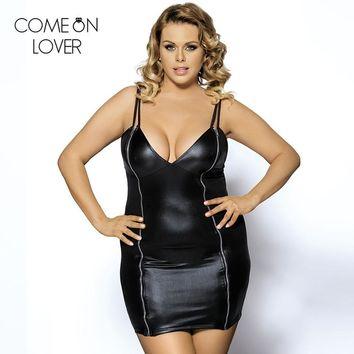 R7858 High quality plus size leather dress V neck fashion women clothes newest sexy dress club wear hot sale black Womens Dress
