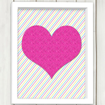 Digital Print Art, Immediate delivery, Pink heart