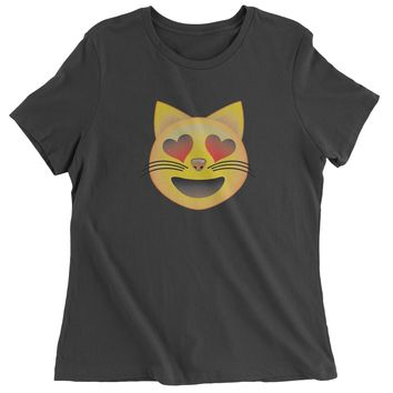 (Color) Emoticon - Heart Eyes Cat Face Smiley Womens T-shirt