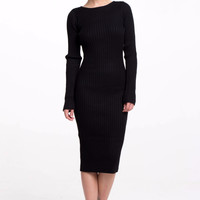 (alr) Round neck ribbed knit silhouette black dress