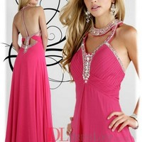 A-Line Halter Chiffon Watermelon Long Prom Dress/Evening Gowns With Beading VTBU0260164