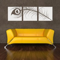 "Peacock Feather Triptych Wall Decal 18"" x 5.75"" Turquoise"