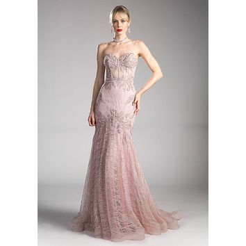 Lace Strapless Mermaid Long Formal Dress Mauve