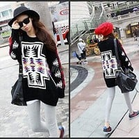 Womens Geometric Patterns Crewneck Oversized Loose Knit Blouse Top Black F7025