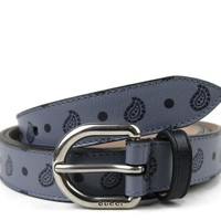 Gucci Men's Blue Thin Leather Paisley Flora Print Belt 337125 4760