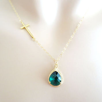 Emerald, birthstone necklace, May birthstone, emerald necklace, cross necklace,gold cross necklace,bridesmaid jewelry